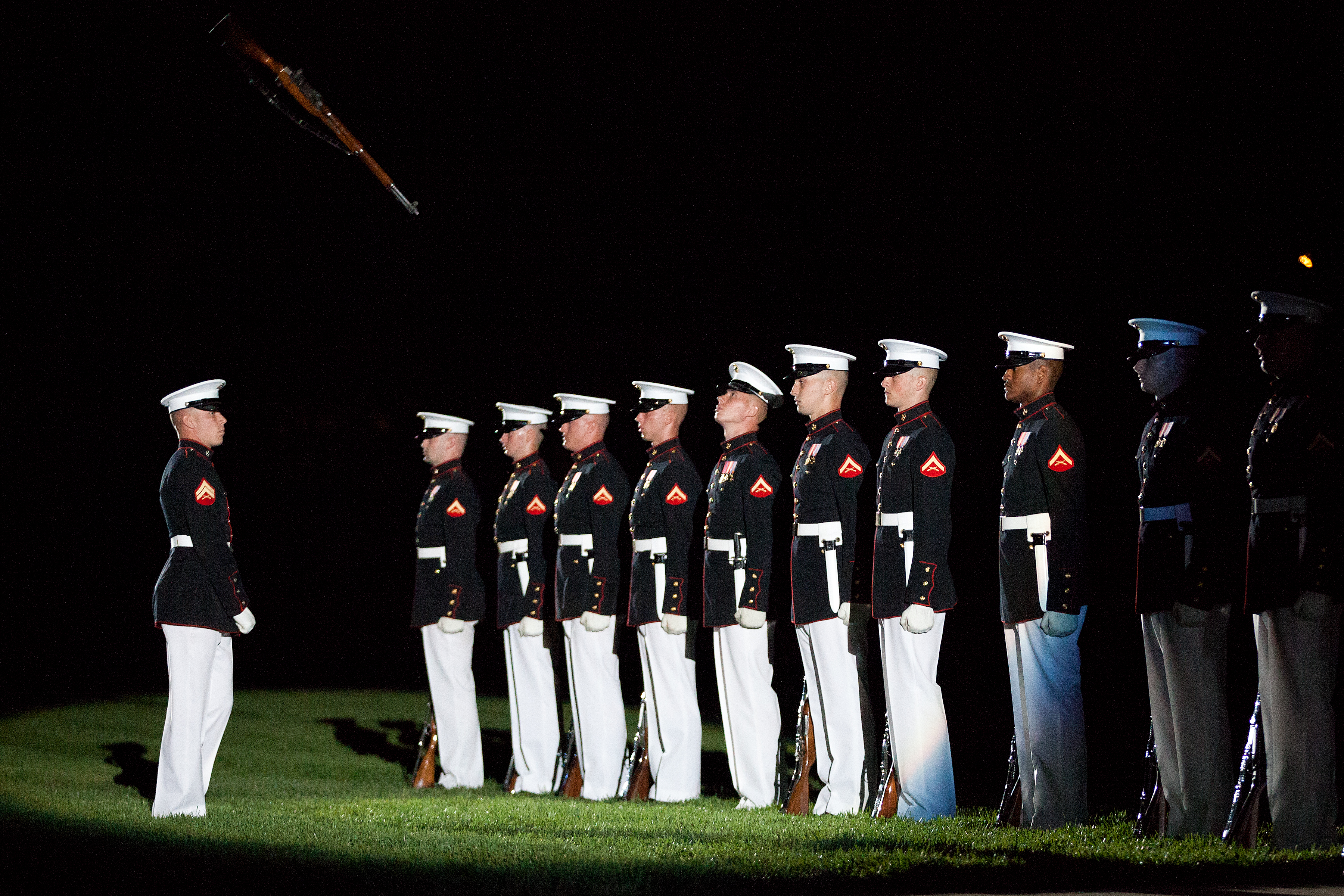 File:Members of the U.S. Marine Corps Silent Drill Platoon ...