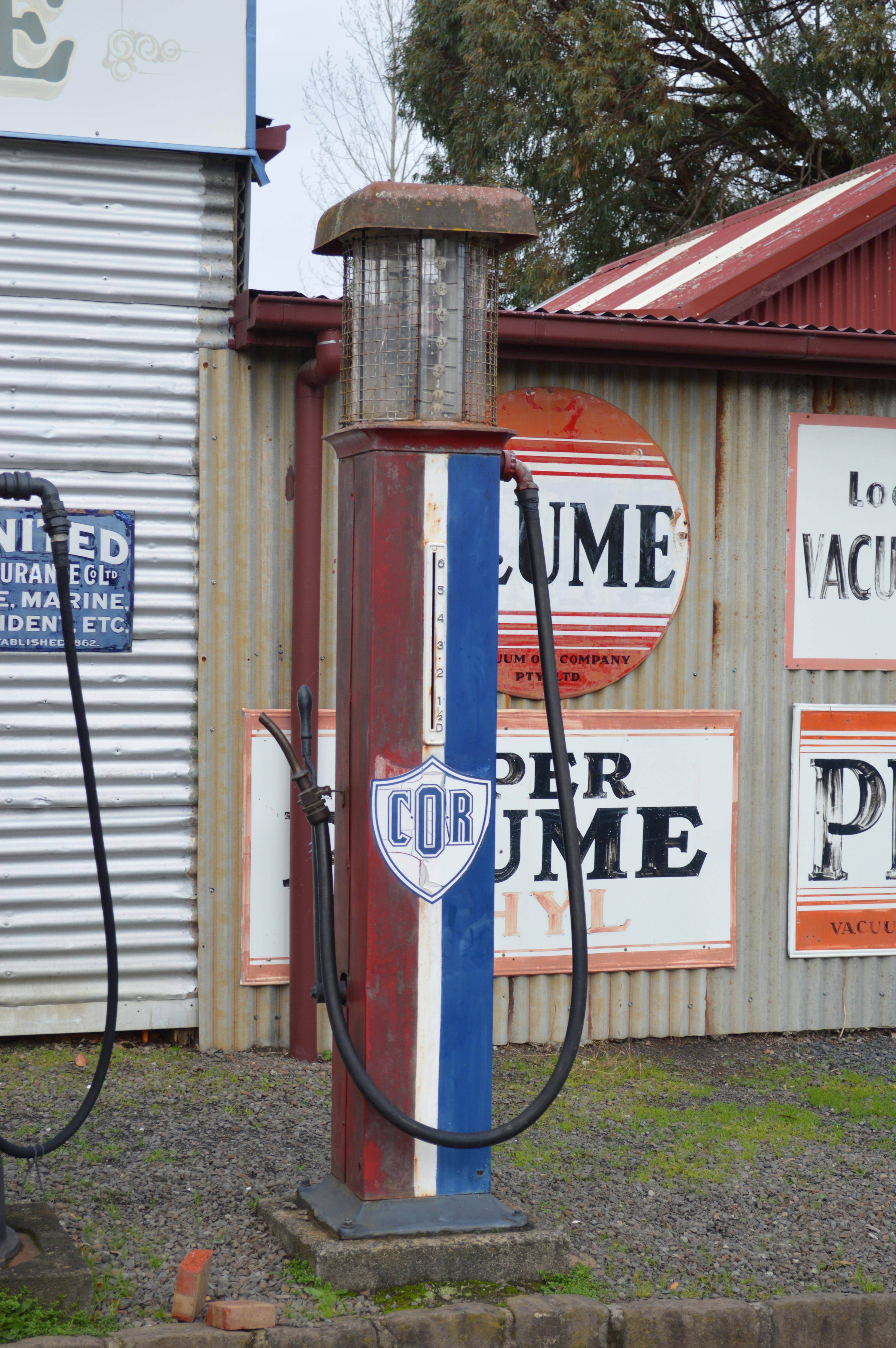 File:Moe Old Gippstown Gippsland Motor Garage COR Bowser JPG