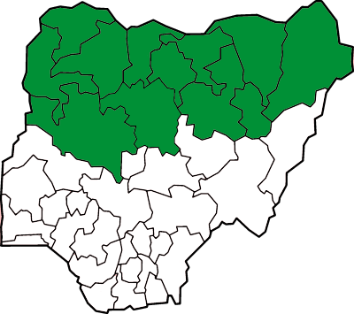 Nigerian states with sharia law shown in green NG-Sharia.png