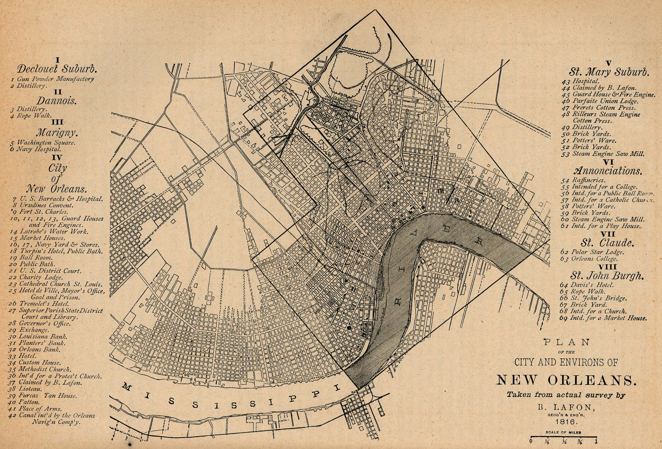 Map of New Orleans, 1816, as reprinted in 1880s with more recent developments contrasted.