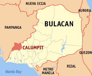 Map of Bulacan showing the location of Calumpit