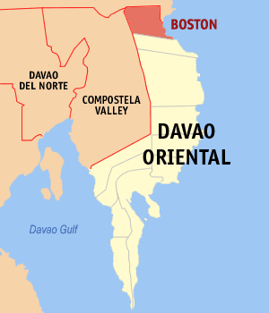 Map of Davao Oriental showing the location of Boston
