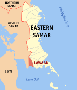 Map of Eastern Samar showing the location of Lawaan