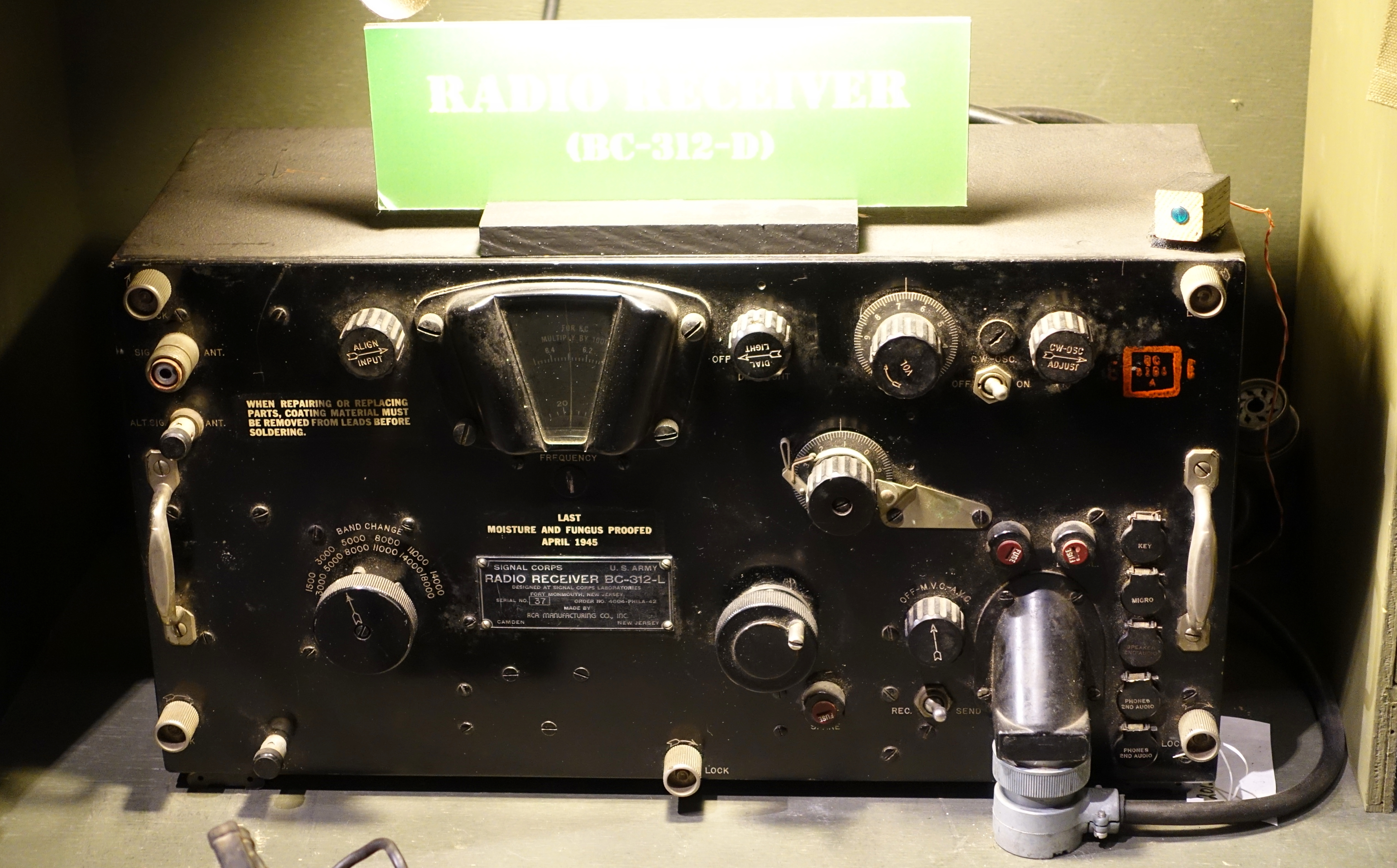 Radio Receiver Bc L C Designed At Us Army Signal Corps Laboratories C Made By Rca National Electronics Museum Dsc