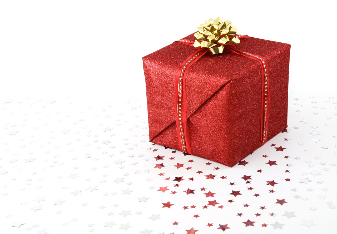 File red christmas present on white background g