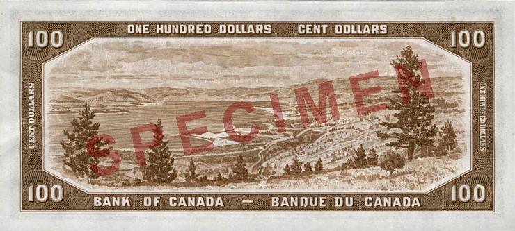 """File:Reverse of $100 banknote, Canada 1954 Series, """"Devil's Head"""" printing.jpg"""