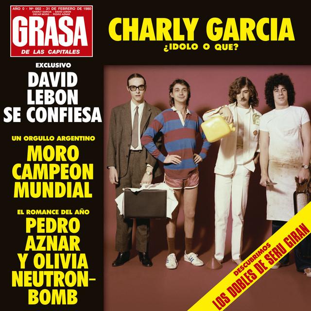Serú Girán para la tapa de La grasa de las capitales (1979). De izquierda a derecha: Pedro Aznar, David Lebón, García y Oscar Moro.