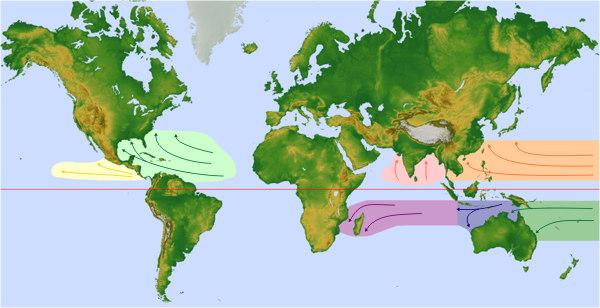 Karte der Entstheungsgebiete und Zugbahnen