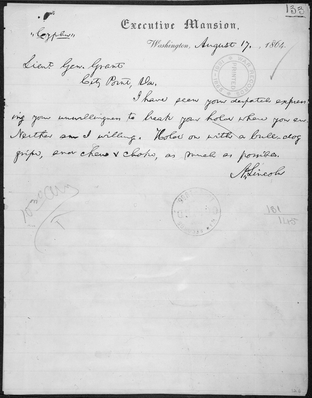 File:Telegram from Abraham Lincoln to Lt. Gen. Ulysses Grant atulysses city