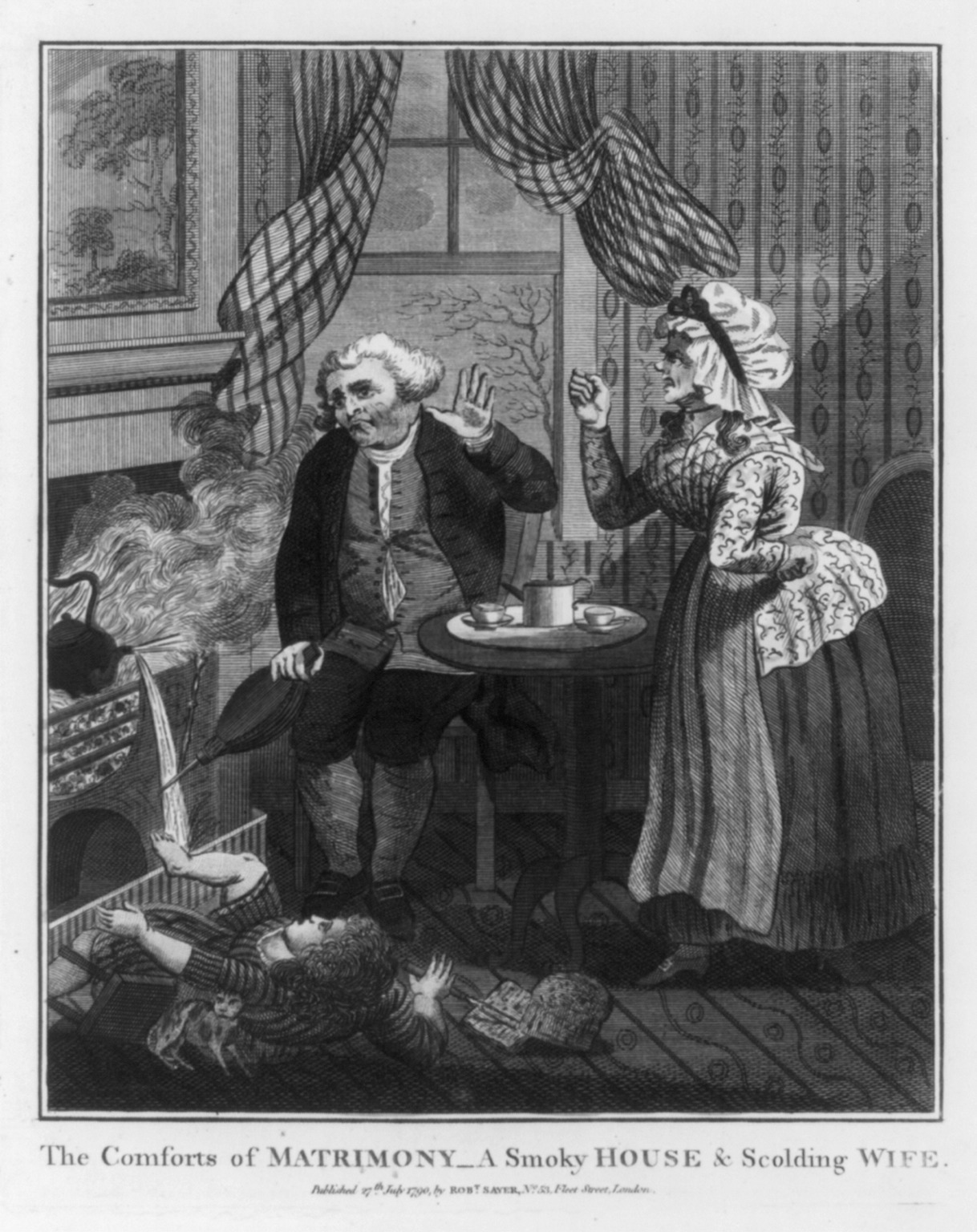 Man seated by window and smoky fireplace, with woman shaking fist at him; child falling off stool, 1790