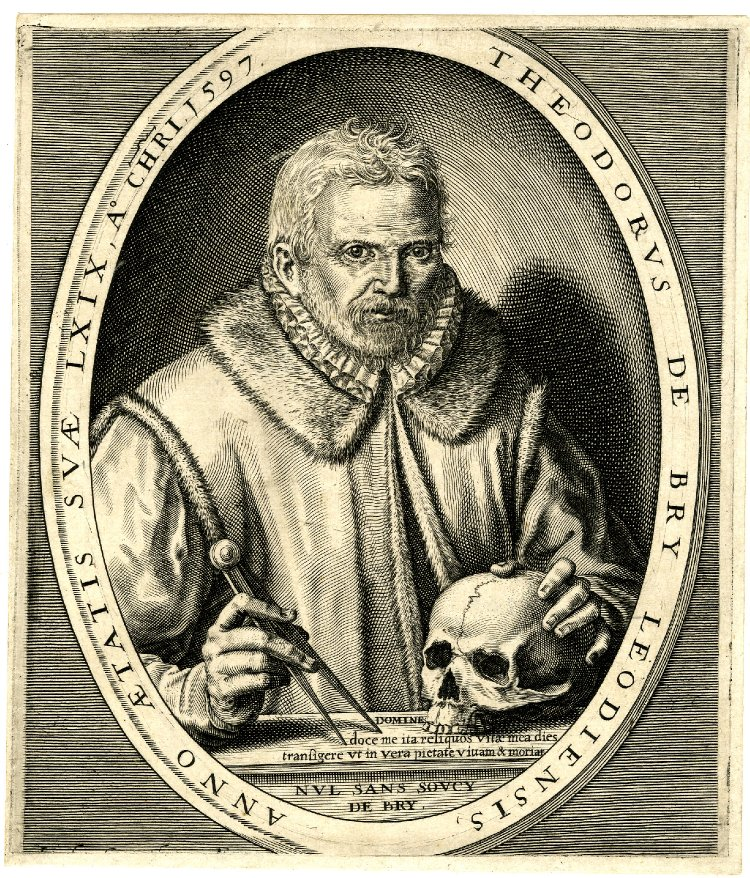 """An engraved self-portrait of Theodorus de Bry. He is dressed in work costume, with a flange [[Clothes iron#Types and names
