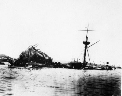 Wreckage of the Maine, 1898 USSMaine.jpg