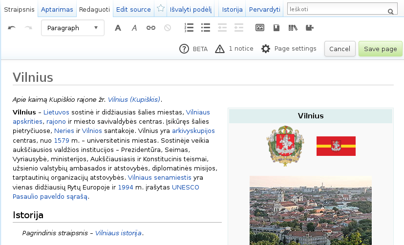 The article Vilnius in the Lithuanian Wikipedia