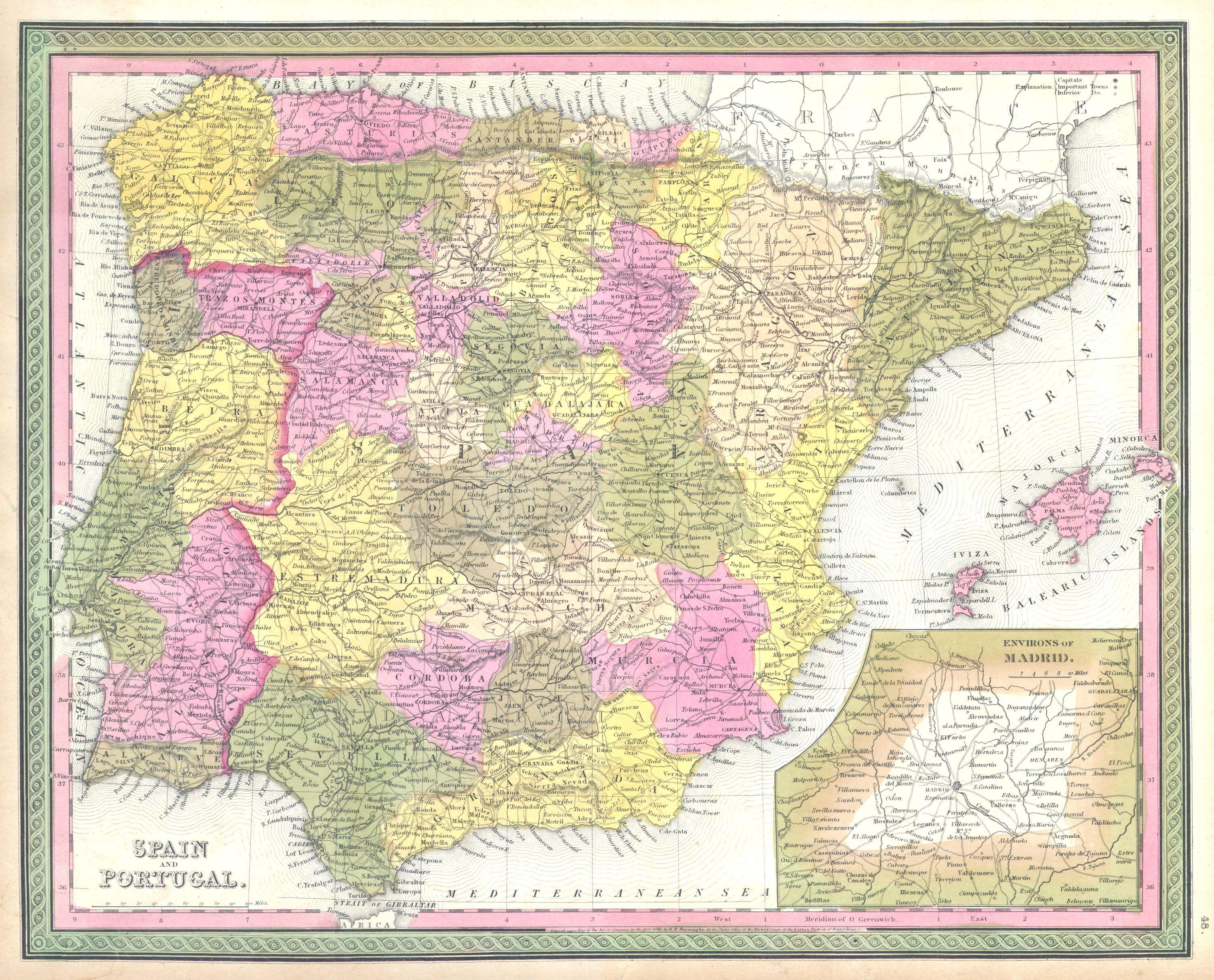 File Mitchell Map Of Spain And Portugal Geographicus - Portugal map size
