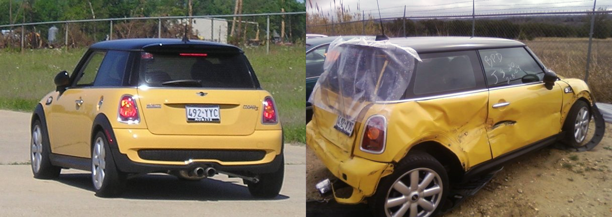 File BeforeAndAfterMINICooperS on oscar mayer wienermobile accident
