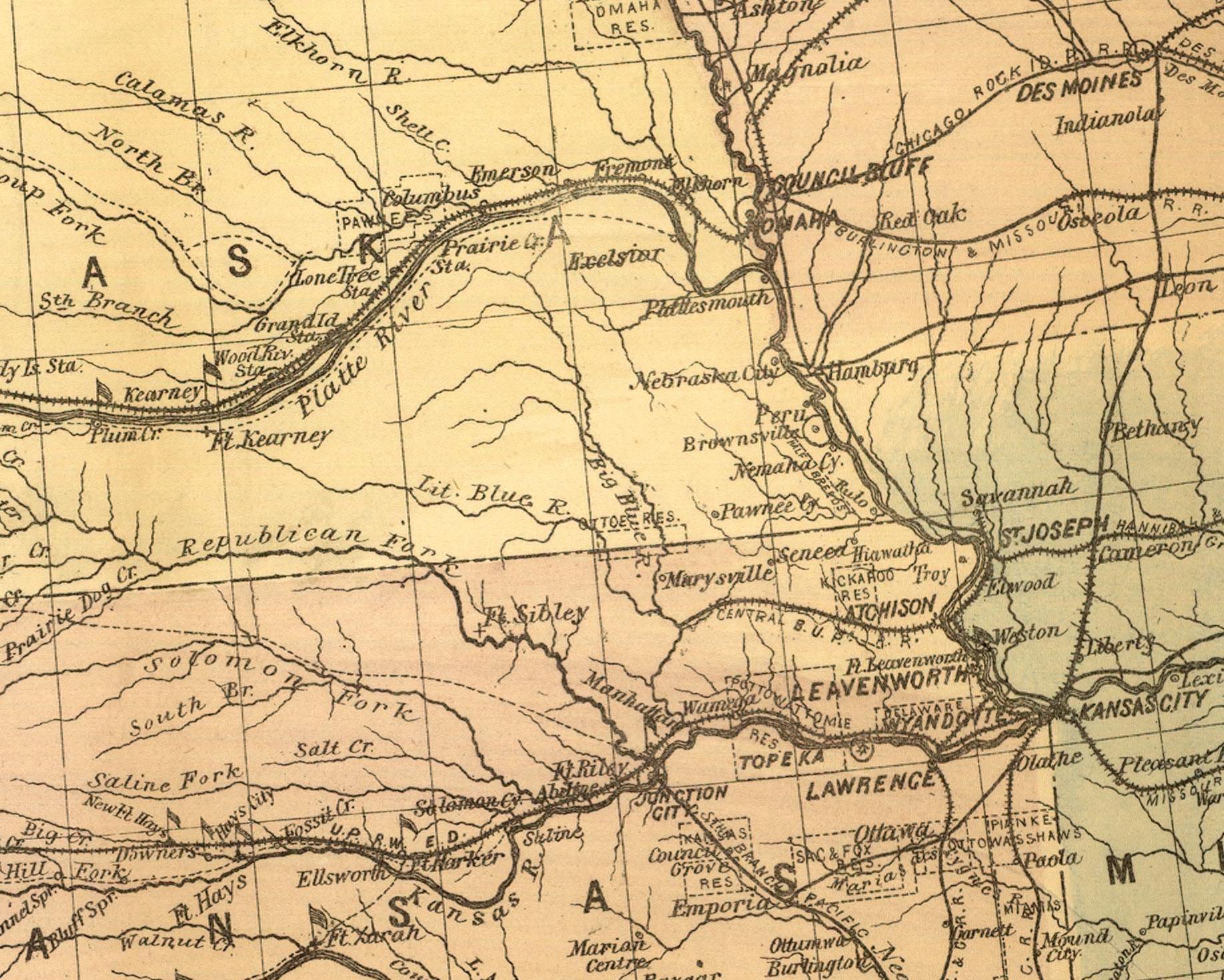 Central nch Union Pacific Railroad - Wikipedia on bnsf map kansas, western railroad map kansas, amtrak map kansas, union pacific track map, union pacific road map, union pacific route map, rock island railroad map kansas, union pacific map in indiana, railroad track map kansas, union pacific routes in kansas, union pacific rr map, map of southern kansas, union pacific rail map texas,