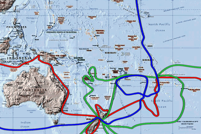 The south-Pacific routes of Captain James Cook's voyages. The first voyage is shown in red, second voyage in green, third voyage in blue.