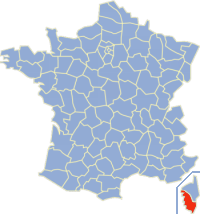 Situation de la Corse-du-Sud en France.