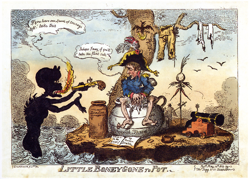 Datei:Cruikshank - Little Boney gone to Pot.png