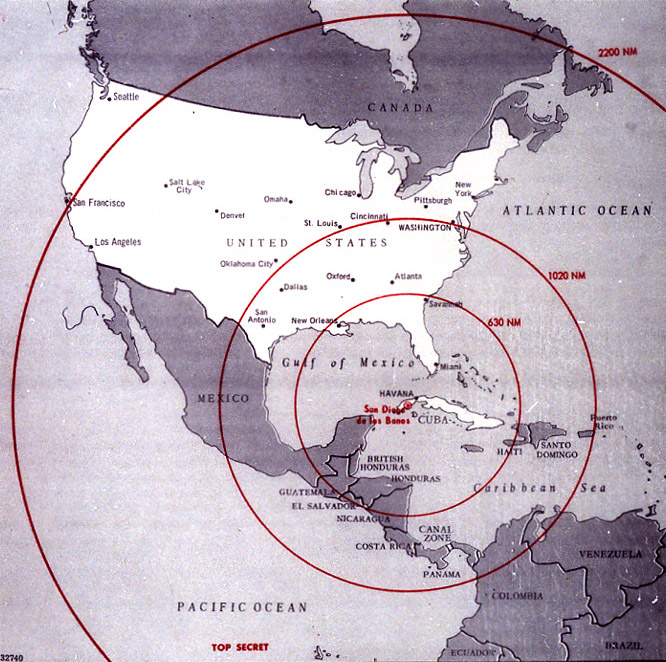 CIA Cuban Missile Range Map, 1962