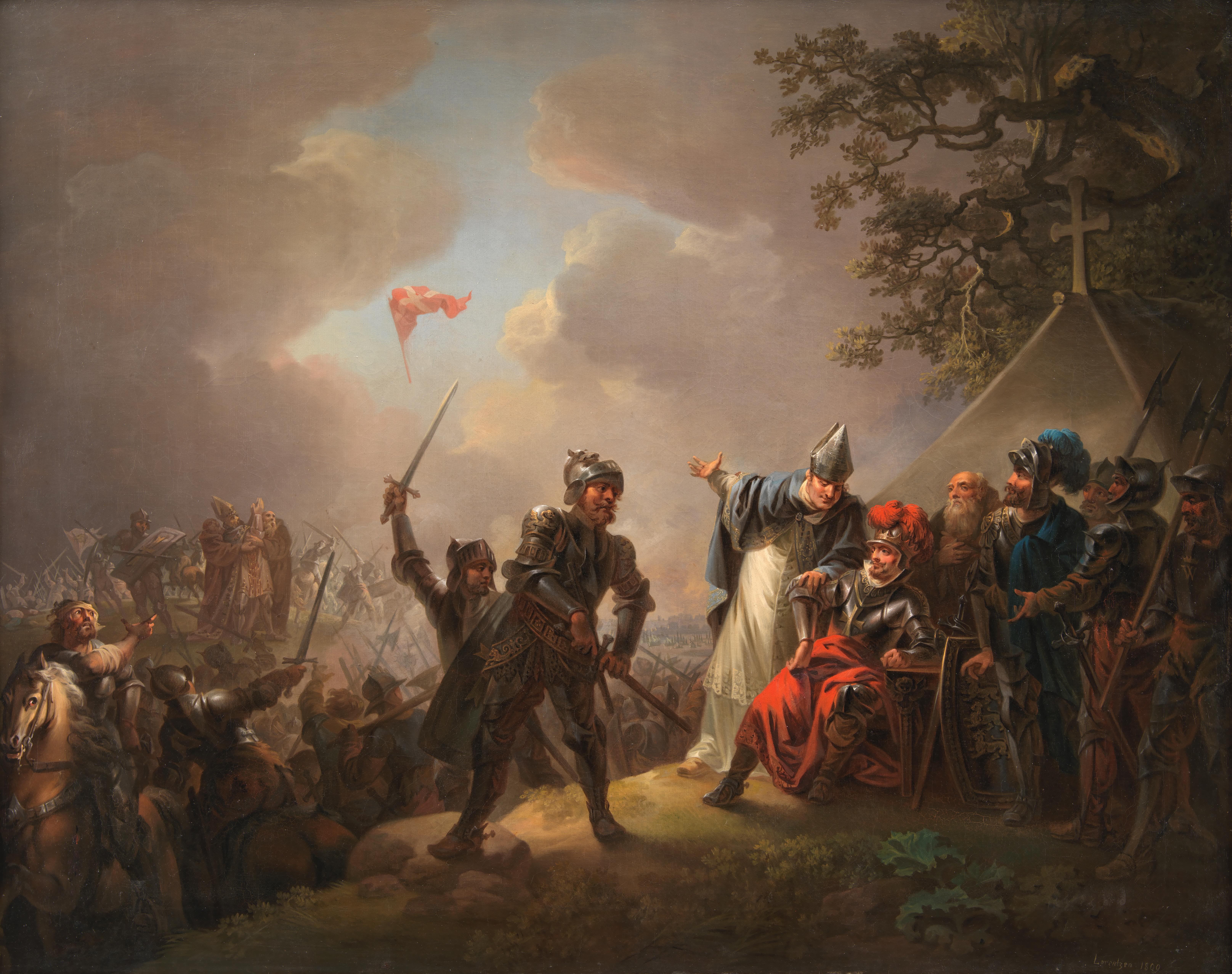 Batalla de Lyndanisse Danmarks_flag_1219_Lorentzen
