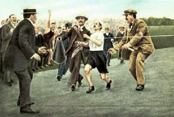 Dorando Pietri at the Marathon finish Olympic Games 1908 London