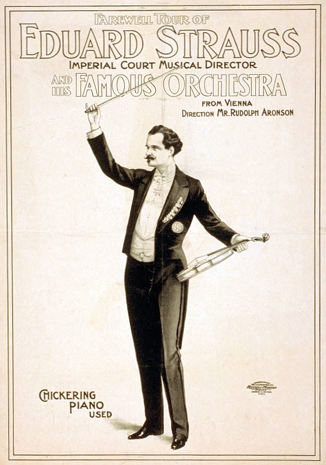 A drawing of Eduard Strauss on a concert poster