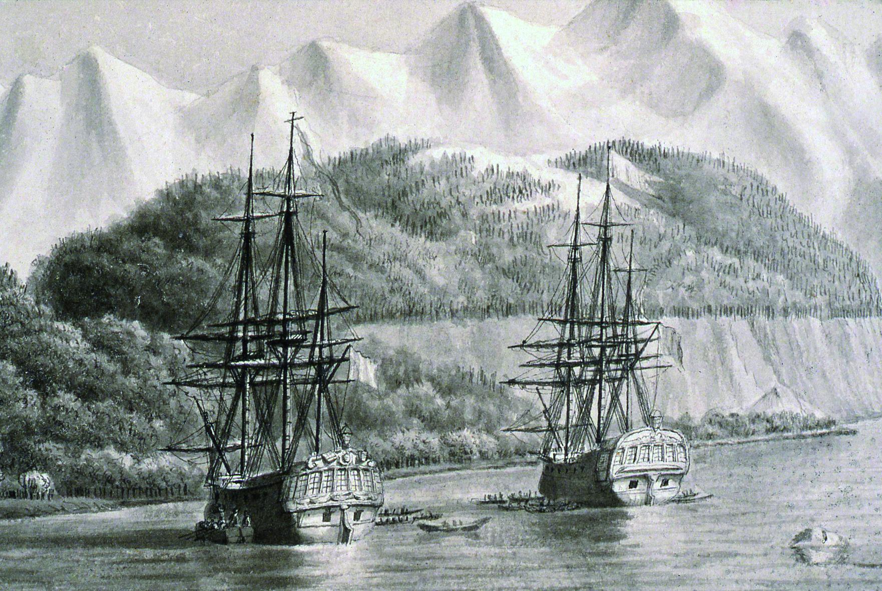 L'Astrolabe et la Boussole au mouillage probablement en Alaska en 1786. Dessin réalisé lors de l'expédition La Pérouse.