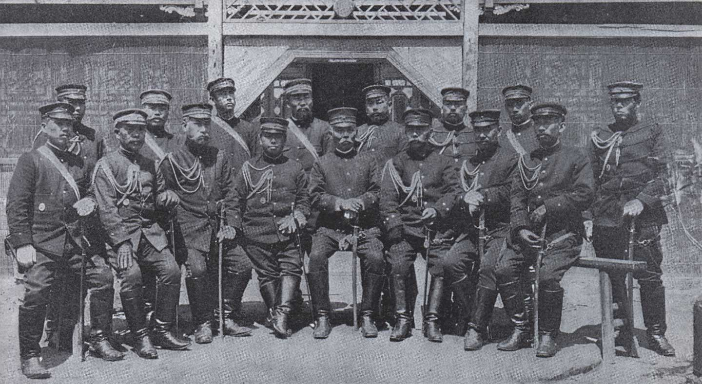 File:general kuroki and his staffs after the battle of yalu river