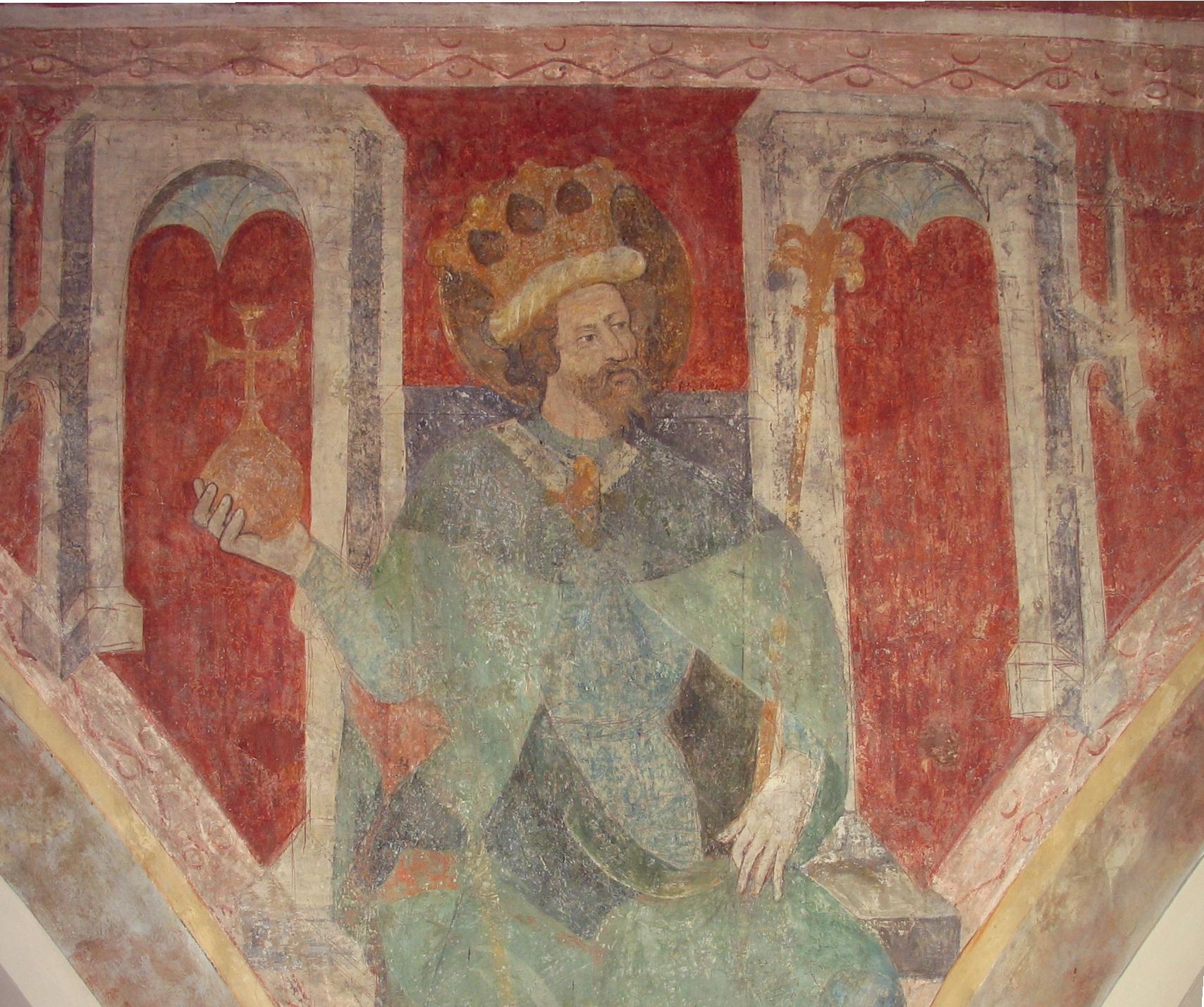 Darstellung König Sigismunds in der Dreifaltigkeitskirche Konstanz, 1417-37.