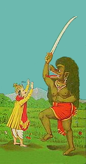 The dark-skinned monster with the sword is Kali.