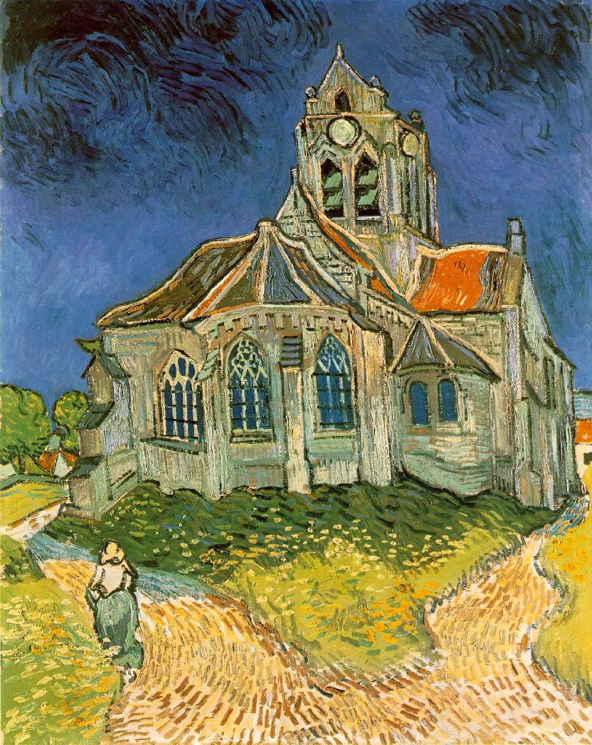 A frontal view of a church, with darkened blue sky overhead, we see the back of a small single figure of a woman walking away from us on the road in front of the building to the left into the distance.