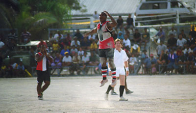 Australian football match at Linkbelt Oval in Nauru, where Australian football is the national sport Linkbelt1999-Finalspiel.jpg