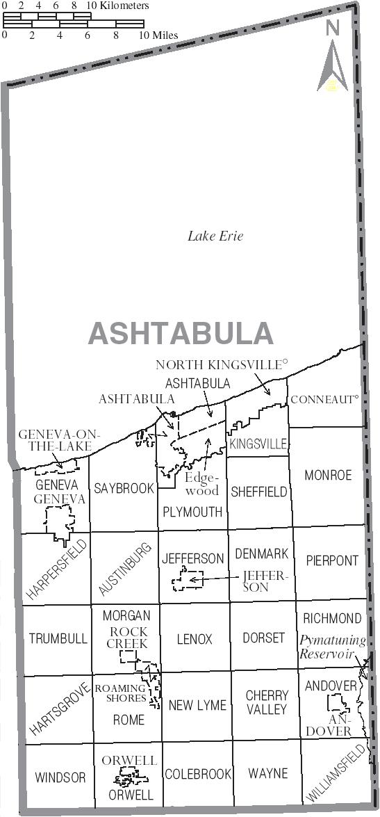Filemap Of Ashtabula County Ohio With Municipal And
