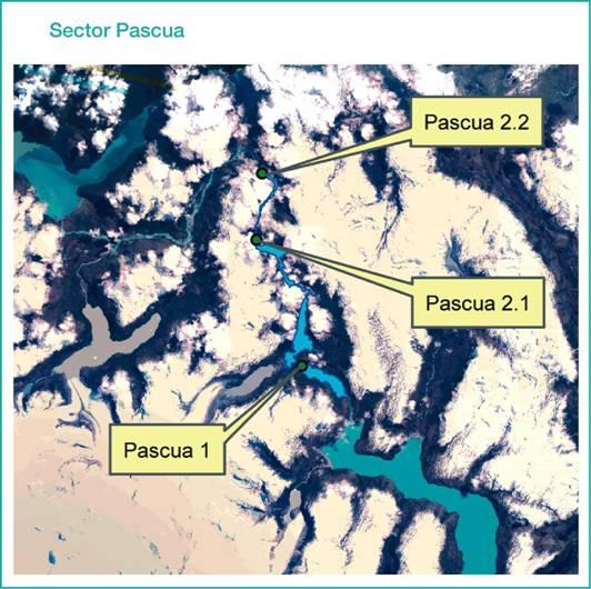 Mapa centrales Pascua 1, 2.1 y 2.2.