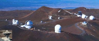 The array of telescopes atop Mauna Kea (Hawaii)