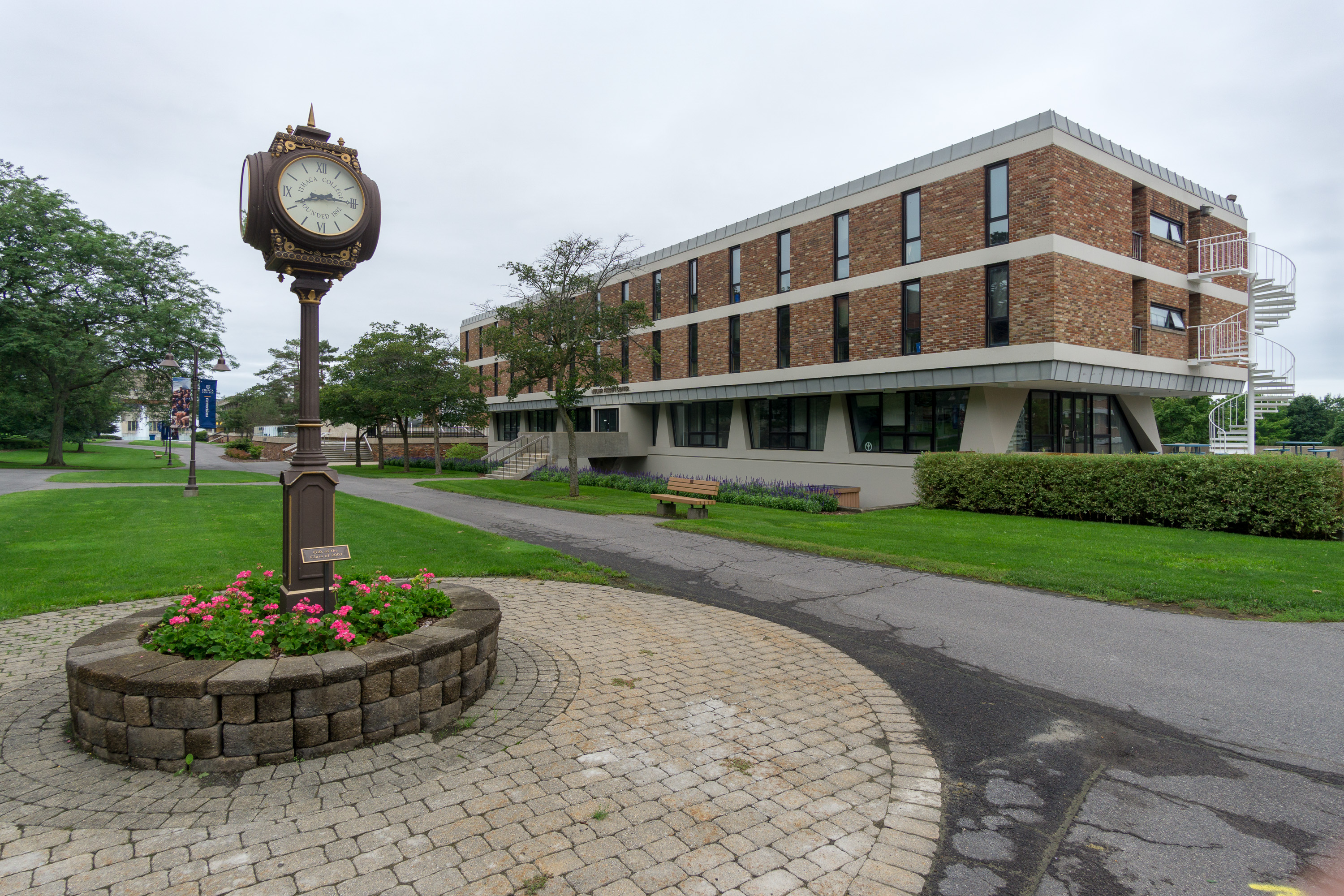 muller faculty center and class of 2003 clock, ithaca college campus.jpg