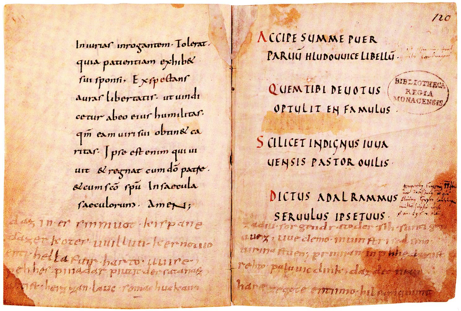 Handschrift aus dem besitz könig ludwigs des deutschen vor um 830