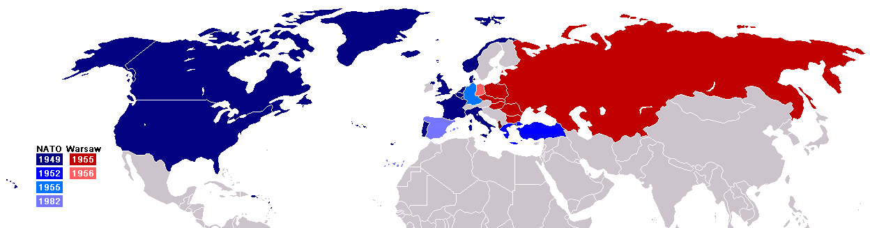 Borders of NATO (blue) and Warsaw Pact (red) states during the Cold war era.