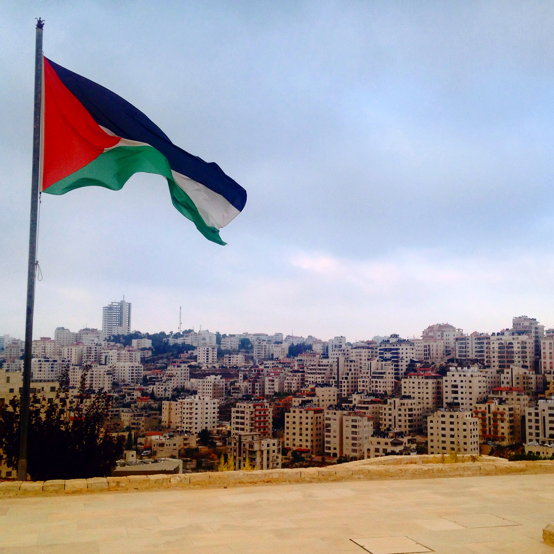 File Palestine Flag Fluttering In The Sky Of The City Of