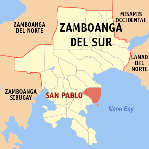 Map of Zamboanga del Sur showing the location of San Pablo