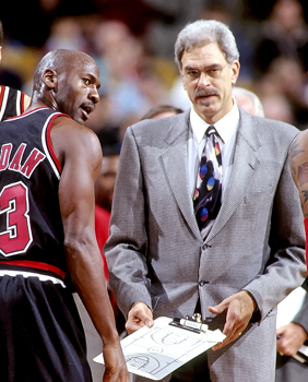 Bulls head coach Phil Jackson consulting Michael Jordan in 1997 Phil Jackson Lipofsky.JPG