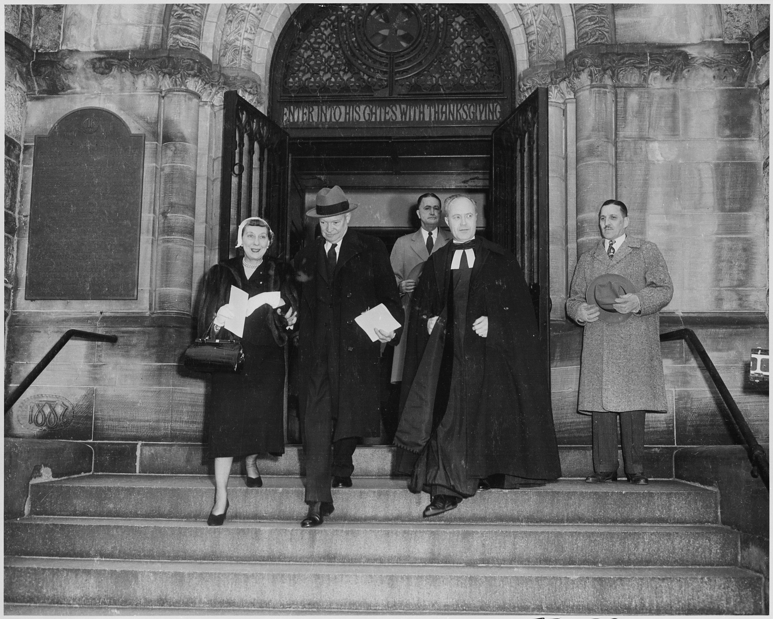 The United States of the Solar System, A.D. 2133 (Book Eight) - Page 4 Photograph_of_President-elect_Dwight_D._Eisenhower_and_his_wife_Mamie_leaving_church_in_Washington_on_the_morning_of..._-_NARA_-_200421