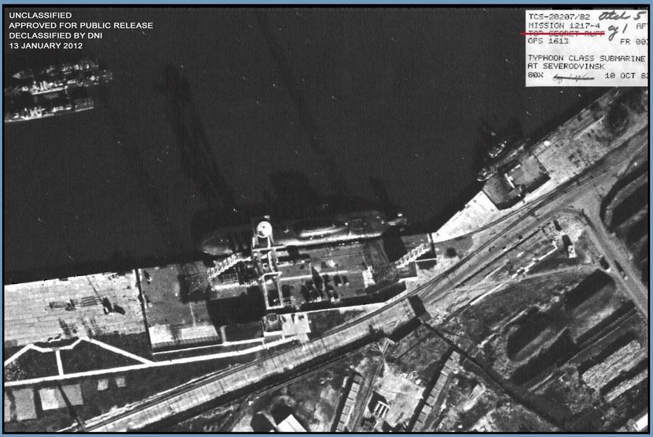 filesatelite image of a typhoon class submarine