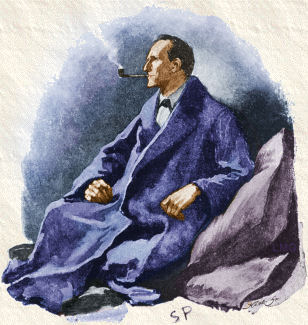 "1891 Sidney Paget Strand portrait of Holmes for ""The Man with the Twisted Lip"" Sherlock Holmes - The Man with the Twisted Lip (colored).jpg"