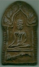 Sacred Buddha amulet blessed in Wat Wangtakian Temple, Jorrakaepuek District, Kanjanaburee, Thailand
