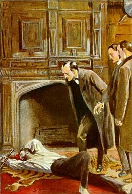 In The Adventure of the Abbey Grange, Sherlock Holmes investigates the murder of Eustace Brackenstall, killed by an unknown assailant The Adventure of the Abbey Grange 03.jpg