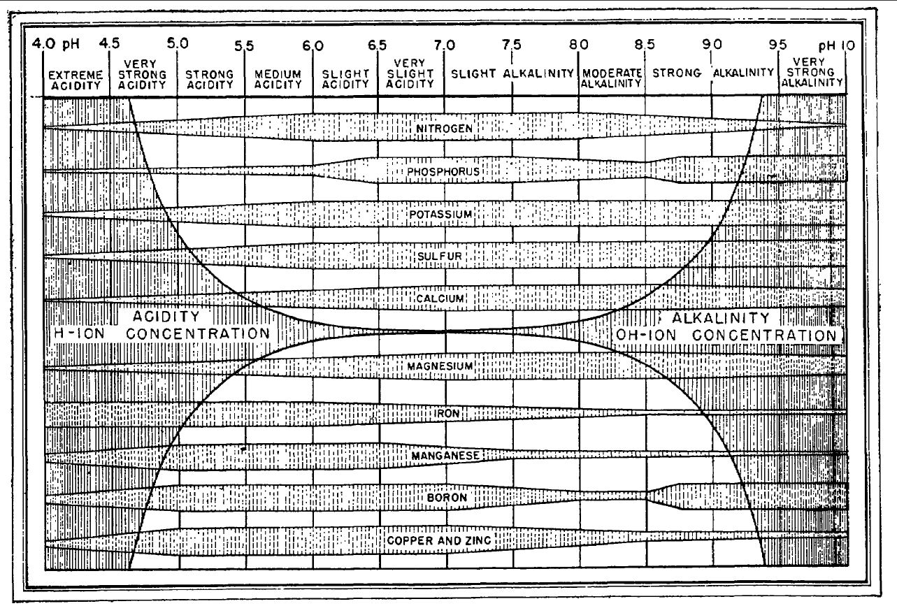 Nutrient Chart: Truog 1947 pH and nutrient availability.jpg - Wikimedia Commons,Chart