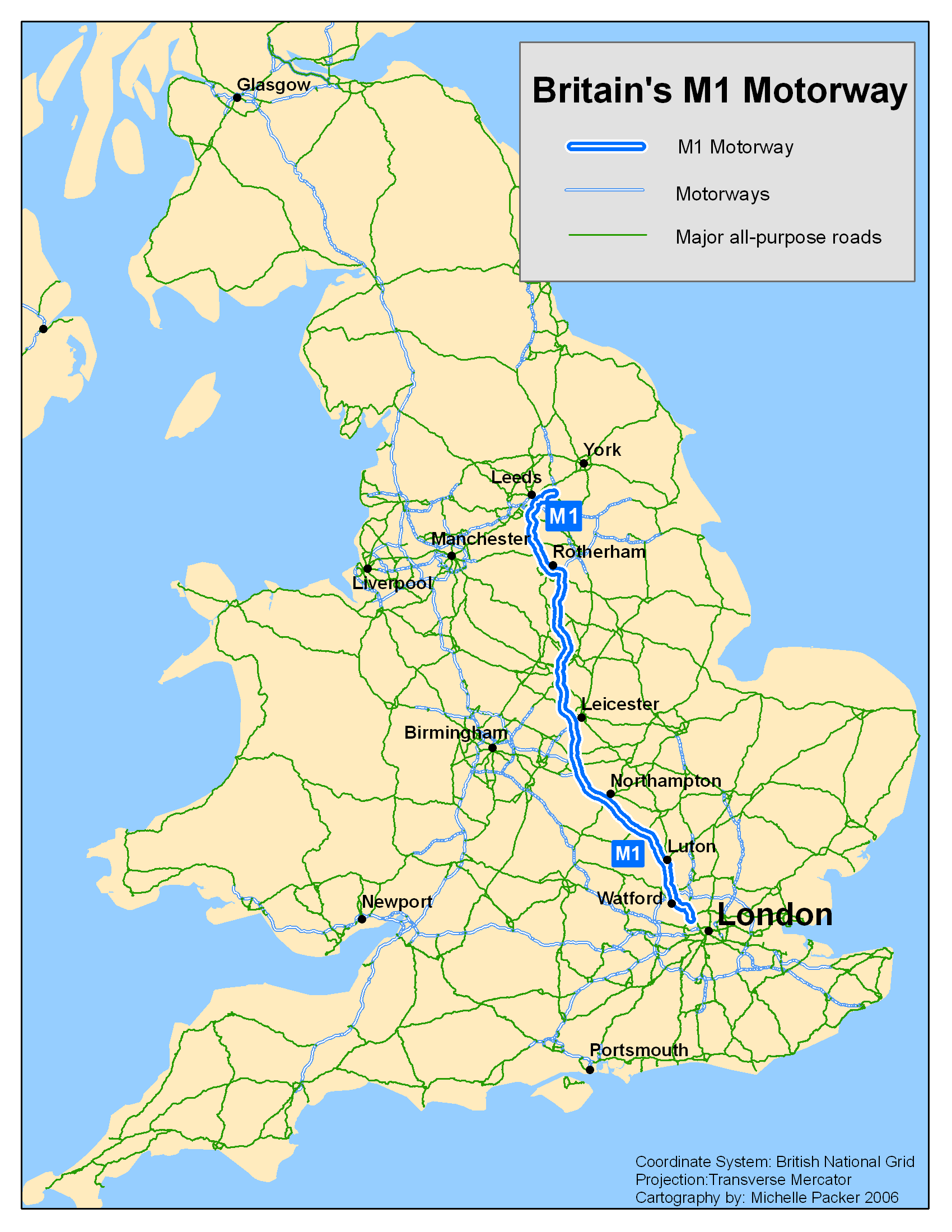 M1 Motorway Map File:UK M1 motorway.png   Wikimedia Commons
