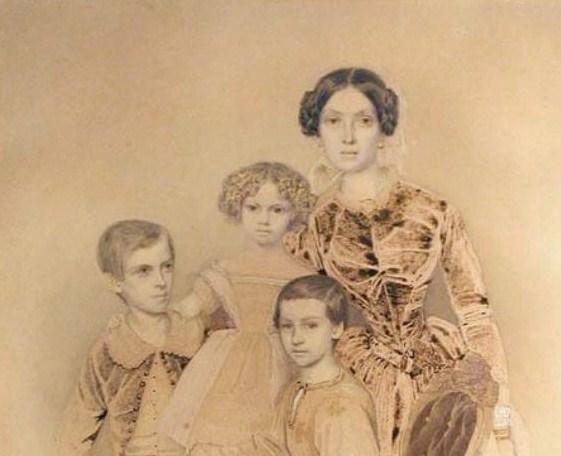 Княгиня Екатерина Петровна Урусова с детьми (1847 год)